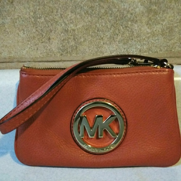 Michael Kors Handbags - Michael Kors Orange Jet Set Wristler Wallet Clutch